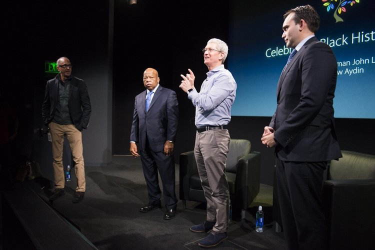 Congressman John Lewis, Tim Cook, and Andrew Aydin at Apple HQ