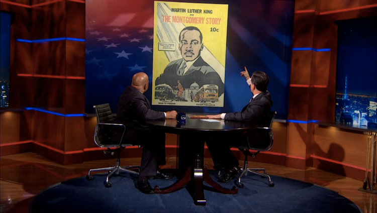 Congressman John Lewis and Stephen Colbert learn about the 1957 comic book Martin Luther King & the Montgomery Story